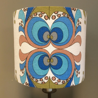 READY TO POST Groovetastic Hippy Blue Olive Funky Swirl Vintage fabric lampshade