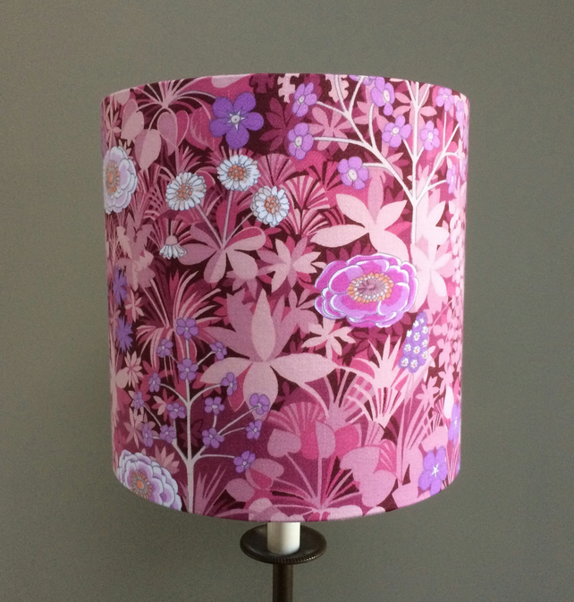 SALE Ready to POST PINK floral Italian Garden Retro Vintage fabric Lampshade