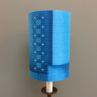 Tiny Flower and Geometric Blue Turquoise Barkcloth Vintage fabric Lampshade