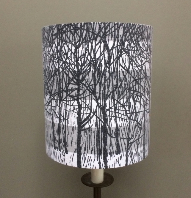 READY to POST Monochrome Trees ARCHWOOD Fothergay Vintage fabric Lampshade
