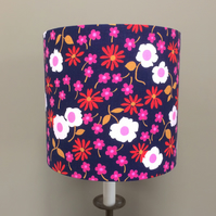 Cheerful VIVID Hippy Flower Blue Pink Red 60s 70s Vintage fabric lampshade