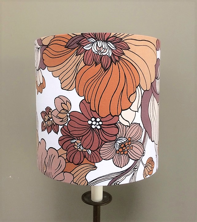 READY to POST Funky 70s Blue Brown Tropica Floral STORY Vintage Fabric Lampshade