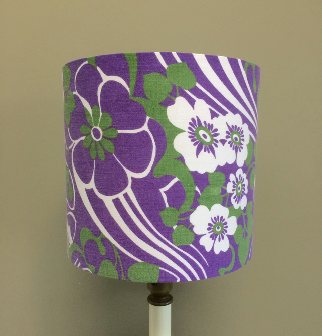 Green and Purple Hippy Psychedelic Floral 70s vintage fabric Lampshade