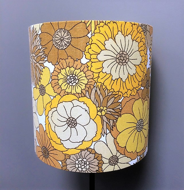 Flower Power 70s RETRO Sunshine Yellow Vintage Fabric Lampshade - Custom Made