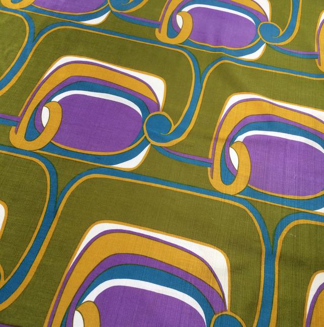 MOD Futuristic SPACE AGE Purple Green 60s 70s Vintage fabric Lampshade option