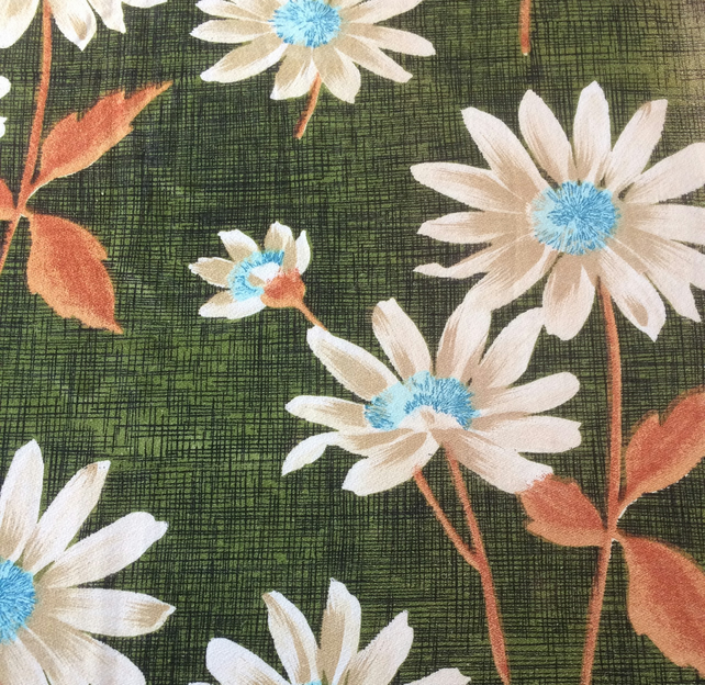 Cheerful BIG White RETRO Daisy on Green 60s Vintage Fabric Lampshade option