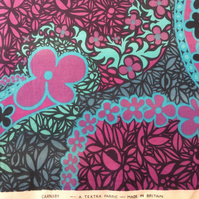 Wow Hip and Groovy CARNABY Pink Blue Floral 60s Vintage fabric Lampshade option