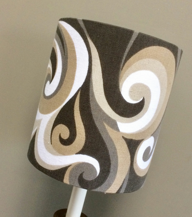 MOD Groovy Lampshade in TOURBILLON by John Wright 60s 70s Vintage fabric