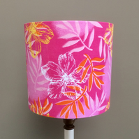 Vibrant Bright Pink Hippy Hawaii Tiki Flower Retro fabric lampshade
