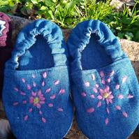 Embroidered Denim Toddler indoor shoes or slippers UK Size 7 (2.5 - 3 yrs)