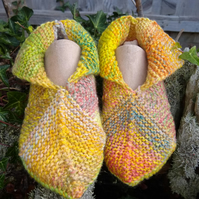 Pixie style knitted slippers   UK Adult size 3.5 - 4.5