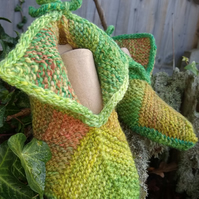 Adult Knitted slippers, Pixie style   UK Adult size 2 - 2.5