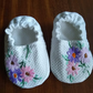Cotton Baby Shoes with Vintage embroidery to fit 0 - 3 months