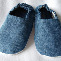 Childs Denim soft indoor shoes or slippers UK Size 8