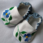 Soft blue flower baby shoes with repurposed vintage embroidery 3 - 6 months