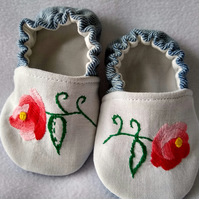 Soft denim red flower baby shoes with repurposed vintage embroidery 3 - 6 months