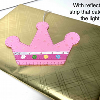 Free P&P.  Gift tag: princess crown with reflective sparkle strip