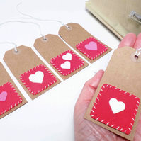 Free P&P. 5 heart gift tags