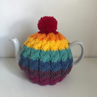 Vintage Cable Rainbow Tea Cosy for Medium Sized 4-6 Cup Teapot