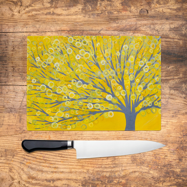 Yellow & Grey Tree Glass Chopping Board - Worktop Saver, Platter, Tray, Large Cu