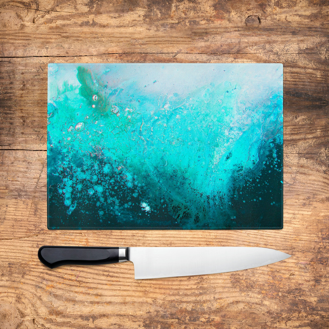 Teal Glass Chopping Board - Teal Turquoise & Black Abstract Worktop Saver, Platt