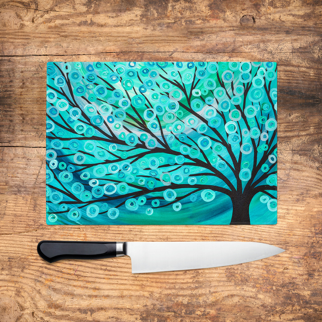 Teal Tree Glass Chopping Board - Teal & Turquoise Abstract Worktop Saver, Platte