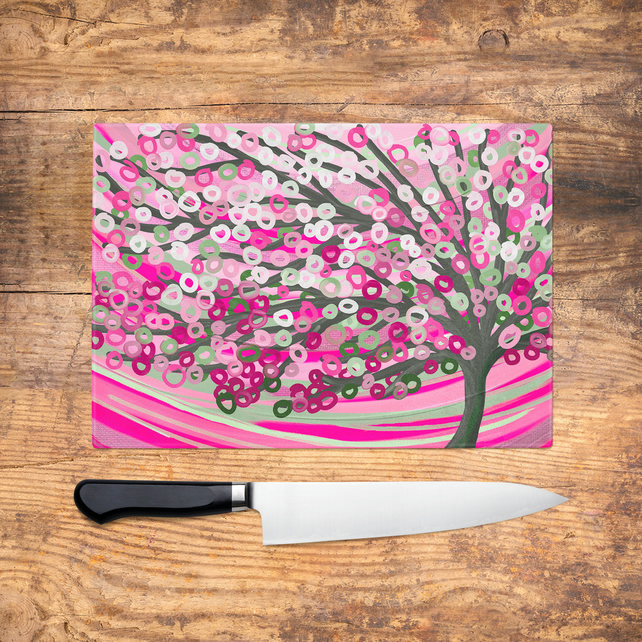 Pink & Sage Tree Glass Chopping Board - Pink and Green Tree Worktop Saver, Platt
