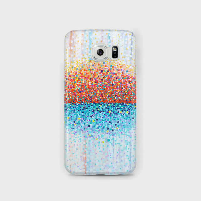 Orange White & Teal Samsung Phone Case -Turquoise White Red and Orange Abstract