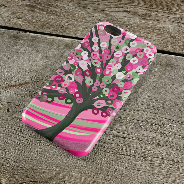 Pink & Sage Green Abstract Tree Pretty iPhone Case - Whimsical Louise Mead Tree