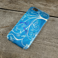 Peacocks iPhone Case - Blue & White Peacocks in a Tree Whimsical Art iPhone Case