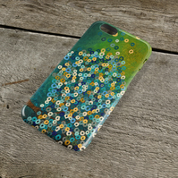 Still Night iPhone Case - Teal & Blue Abstract Tree Painting Unique iPhone Case