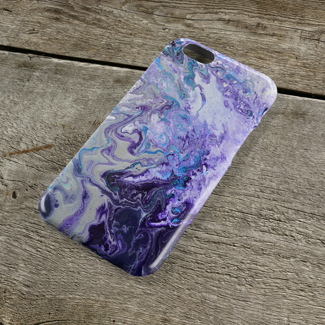 Purple Marbled iPhone Case - Available for Models iPhone 5678, Plus, , S, Protec