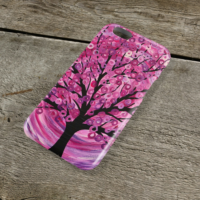 Raspberry Ripple Tree iPhone Case - Pink & Purple Abstract Tree Painting iPhone