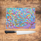 Purple Tree Glass Chopping Board - Lilac pink and blue Worktop Saver, Platter, L