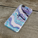 Orbit Abstract iPhone Case - Purple blue lilac and white absyract Fluid Art iPho