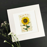"'Happy Sunflower' 8"" x 8' Mounted Print"