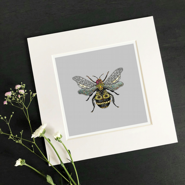 "'Bee' 8"" x 8"" Mounted Print"