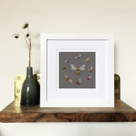 'Queen Bee' White Framed Print