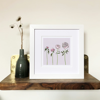'The Peony' White Framed Print