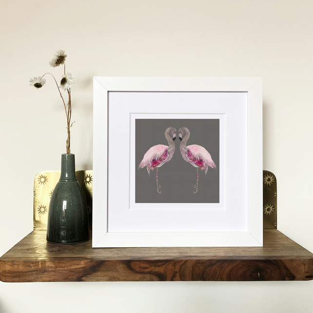 'Flamingo Love' White Framed Print
