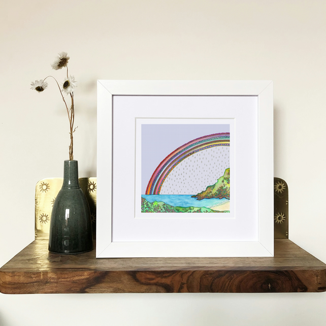 'Over The Bay' White Framed Print