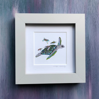 "'Turtle Family' 5"" x 5"" Framed Print"