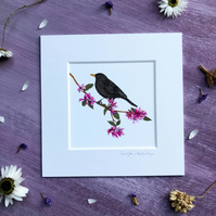 "'Blackbird' 5"" x 5"" Mounted Print"