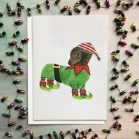 SALE! Dachshund Christmas Card