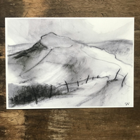 Mam Tor from Barker Bank PRINT - Peak District Landscape art print