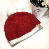 Christmas Red and White Crochet Hat with Pom Pom Bobble