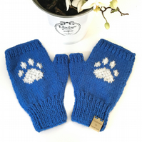 Knitted Paw Print Fingerless Mittens (Blue)