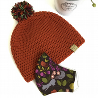 Crochet Hat and Face Covering Set (Russet yarn and Woodland Fabric)
