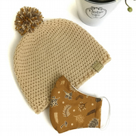 Crochet Hat and Face Covering Set (Oatmeal yarn and Mustard Acorn Fabric)