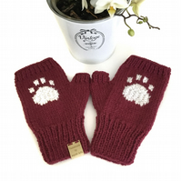 Knitted Paw Print Fingerless Mittens (Burgundy)